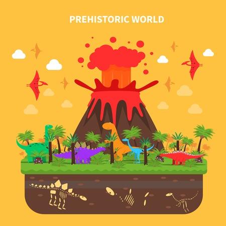 volcano eruption: Prehistoric world concept with dinosaurs and volcano eruption vector illustration Illustration