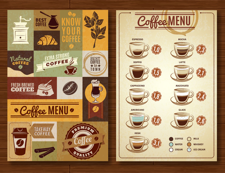 Coffee menu board for bar cafe restaurant vintage style 2 vertical banners composition abstract isolated  vector illustration Çizim