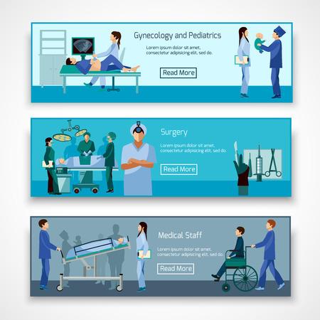 chirurgo: Medical 3 banner orizzontali piatti professionali stabilite con chirurgo ostetrico e neonato astratta illustrazione vettoriale isolato Vettoriali