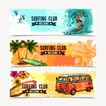 beach cruiser: Surf horizontal banner set with sketch water sport elements isolated vector illustration Illustration