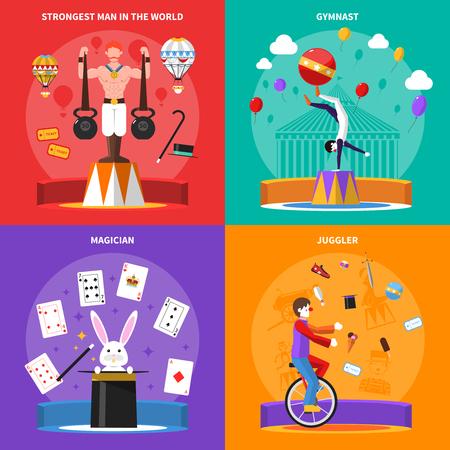mago: Iconos del concepto del circo fijaron con el mago gimnasta y malabarista símbolos ilustración del vector aislado plana