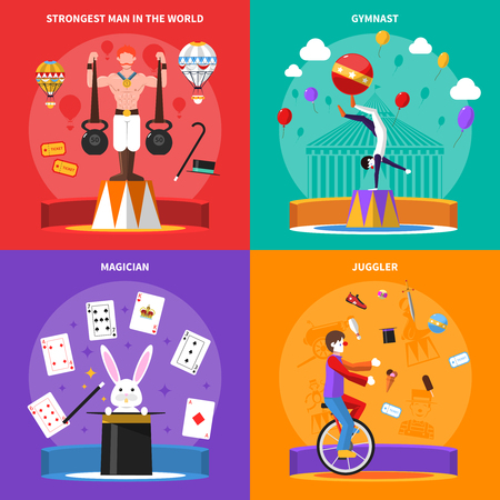 Circus concept icons set with gymnast magician and juggler symbols flat isolated vector illustration
