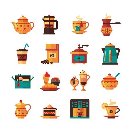 Klassische Tee und Kaffee-Icons Set mit Zucker und Milch Krug in warmen grün, braun, gelb flach getrennt Vektor-Illustration