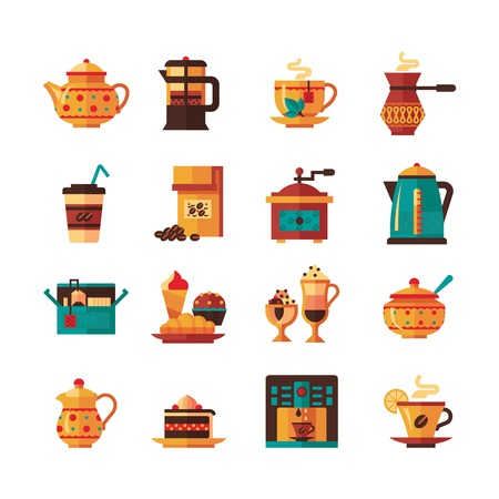 Classical tea and coffee icons set with sugar and milk pitcher in warm green brown yellow flat isolated vector illustration Illustration