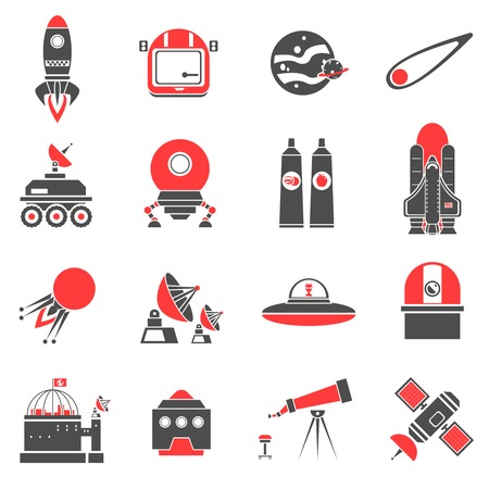 space robot: Space black and red icons set with comet spaceship satellite isolated vector illustration Illustration