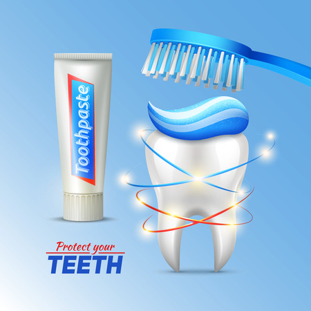 proteccion: concepto de higiene dental con pasta de dientes cepillo de dientes del diente y la escritura a proteger su ilustración vectorial dientes