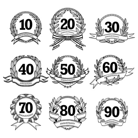 flower age: Anniversary labels set for different age black white sketch isolated vector illustration Illustration