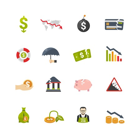 Financial crisis symbols flat icons set with currency banknotes and money box declining savings abstract isolated vector illustration