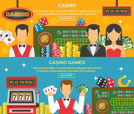 casino machine: Casino and gambling horizontal banners set with casino games symbols flat isolated vector illustration
