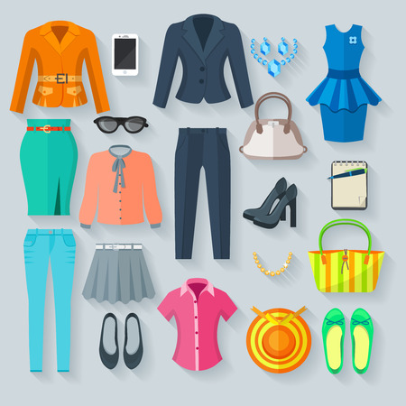 clothes: Woman clothes collection color icons set of pantsuit skirt blouse dress jeans shoes and accessory flat isolated vector illustration
