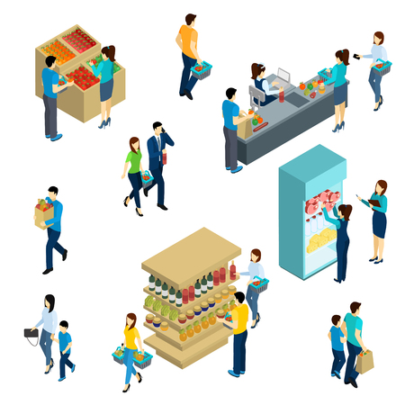 woman shopping cart: Isometric people adults and kids in grocery shop isolated vector illustration Illustration