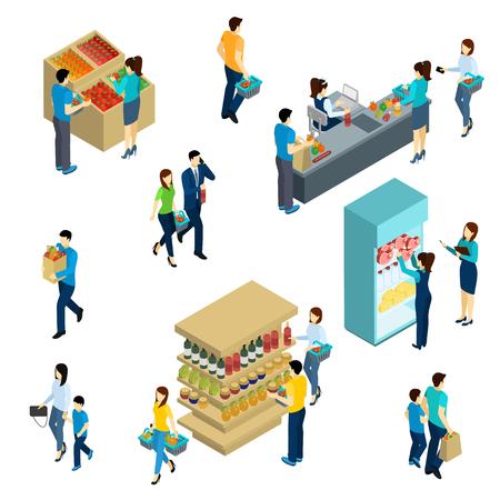 chicas de compras: personas isométricas adultos y niños en la tienda de comestibles ilustración vectorial aislado Vectores