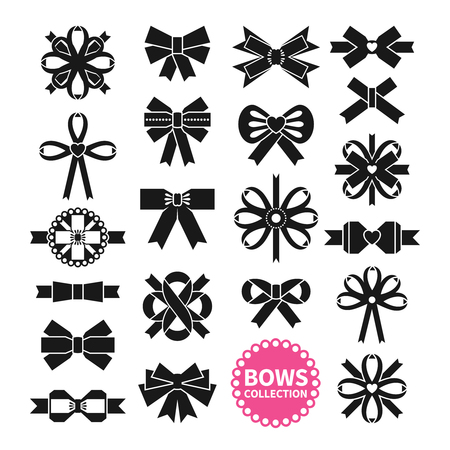 Black bows set on white background in different shapes isolated vector illustration