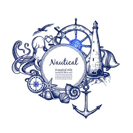 themes: Nautical sea symbols composition doodle design with anchor compass and lighthouse in blue marine abstract vector illustration Illustration