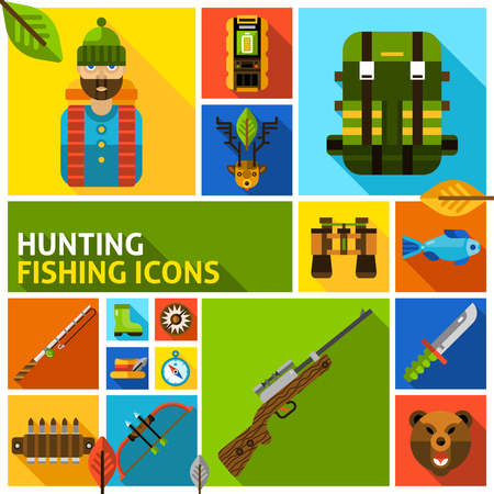 ammo: Hunting and fishing flat long shadow icons set wigh hunter gun and ammo isolated vector illustration