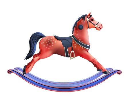 juguetes de madera: Realista caballo mecedora del juguete del ni�o de color rojo aisladas sobre fondo blanco ilustraci�n vectorial