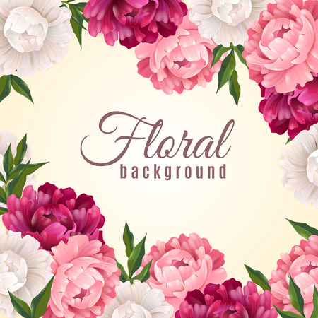 Bloemen realistische achtergrond met pioenen voor briefkaart of begroeting vector illustratie