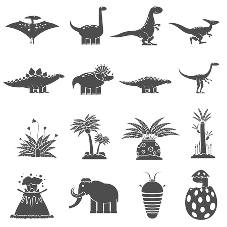cretaceous: Dinosaurs and prehistoric nature black icons set isolated vector illustration Illustration