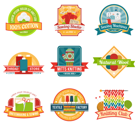 natural materials: Textile colored emblem set with natural materials store labels isolated vector illustration