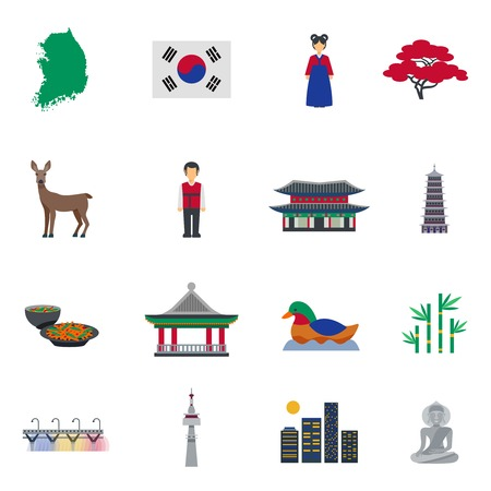 korean traditional: Korean traditional food clothing landmarks and national cultural symbols flat icons collection abstract isolated vector illustration Illustration