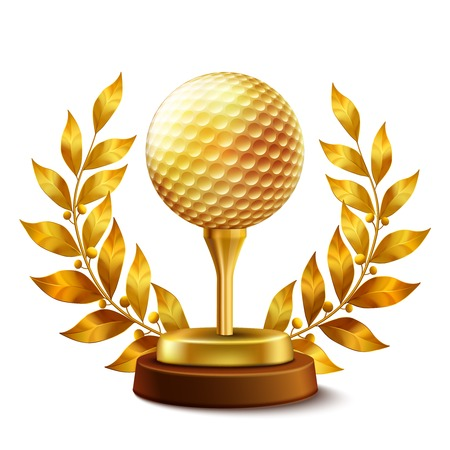 gold leaf: Shiny golden golf championship award with ball and laurel wreath Illustration