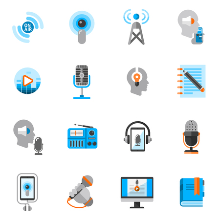 Podcast and online audio information flat icons set isolated vector illustration Illustration