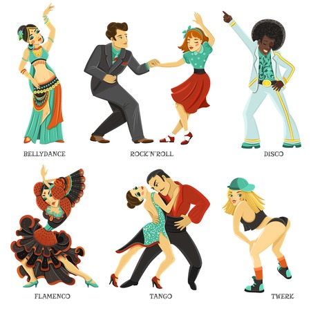 folk dance: Popular dance pair and individual flat icons set with twerk tango rock and roll isolated vector illustration