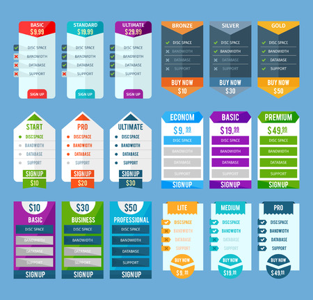 basic: Pricing table templates set with basic standard and ultimate on blue background flat isolated vector illustration Illustration