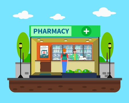 farmacia: concepto de farmacia con el edificio de la farmacia m�dica ilustraci�n vectorial en el interior plana