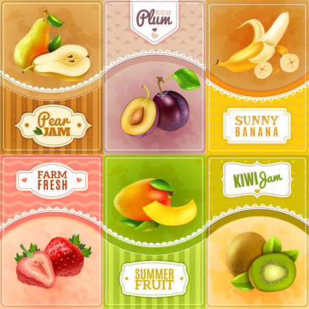 jams: Natural jams made from fresh organic eco fruits 6 tags pictograms composition banner abstract isolated vector illustration Illustration