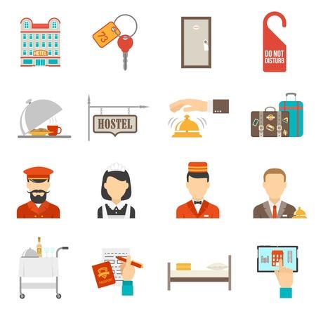 letti: Servizio Hotel icone piane impostate con illustrazione vettoriale diversi elettrodomestici isolato