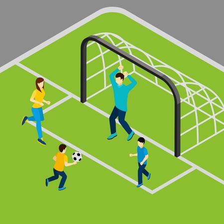 family playing: Family playing football with mother father and children isometric vector illustration