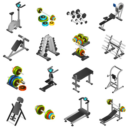 3d icons: Realistic 3d icons set of different fitness equipments and training apparatus isolated vector illustration Illustration