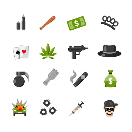 car leaf: Flat color isolated gangster icons with elements of criminal lifestyle gambling cash and gun isolated vector illustration Illustration