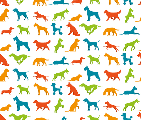 breeds: Dog seamless pattern with flat pet breeds silhouettes vector illustration Illustration