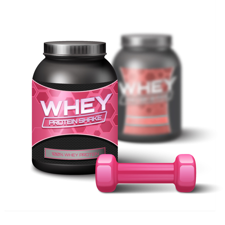 gainer: Pink woman dumbbell and jar of whey protein sport nutrition vector illustration