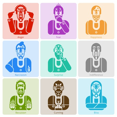 revulsion: Monochrome male avatars with anger fear happiness and other emotions isolated vector illustration