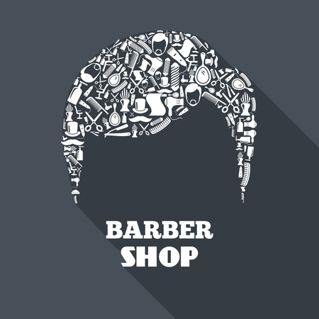 hair dryer: Barber shop concept with barbershop instruments in male haircut shape vector illustration