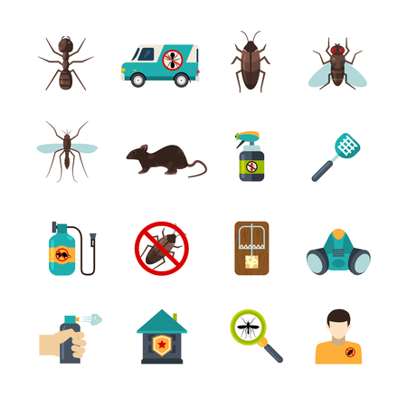 cockroach: Home pest control expert exterminator service flat icons set with rat and cockroach abstract isolated vector illustration