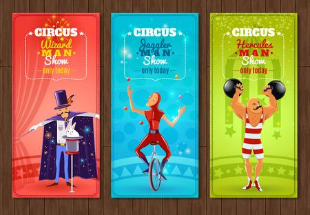 clown cirque: Cirque Spectacle itin�rant d'une journ�e banni�res plates d�finies avec jongleur fort et assistant abstraite isol� illustration vectorielle Illustration