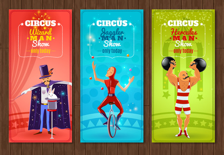 strongman: Travelling circus one day show flat banners set with juggler strongman and wizard abstract isolated vector illustration