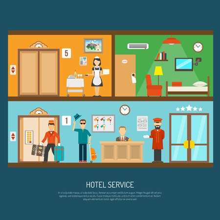 breakfast in bed: Hotel service concept with room cleaning and reception flat vector illustration Illustration
