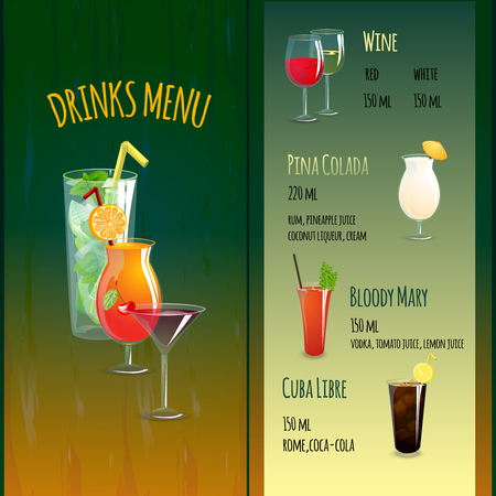 food and drink holiday: Cocktail bar menu brochure template with alcohol drinks symbols vector illustration