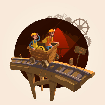 Mining concept with workers riding a coal trolley retro cartoon style vector illustration