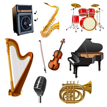 Muziekinstrumenten decoratieve pictogrammen die met geïsoleerde gitaar trommel harp piano viool vector illustration