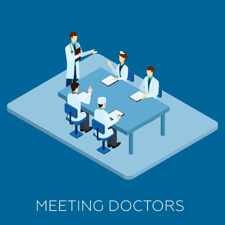 Doctor meeting concept with isometric medical personnel at table vector illustration Stock Illustratie