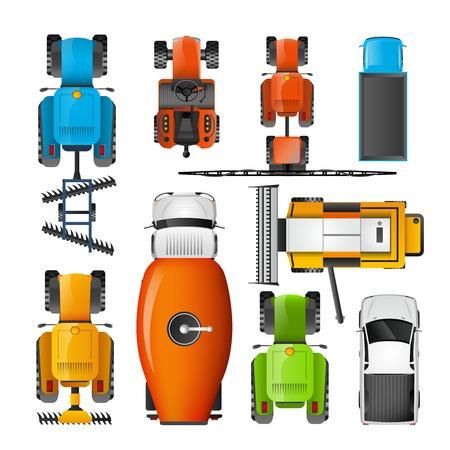 manzara: birleştirici traktör biçerdöver ve forklift üstten görünüm vektör çizim ile modern tarım makineleri renkli düz simgeler koleksiyonu Çizim