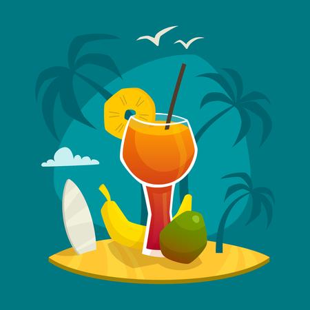 albero da frutto: Concetto di progetto con un bicchiere di succo di frutta e frutti tropicali freschi sul tavolo con palme sfondo illustrazione vettoriale