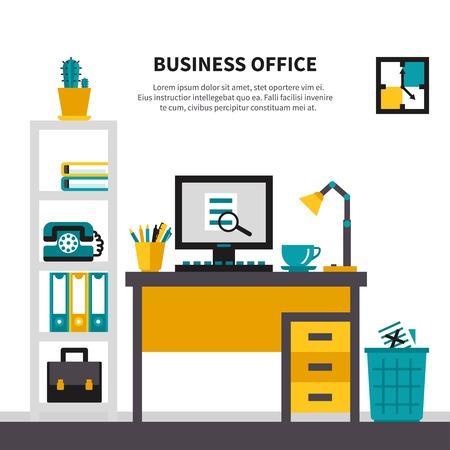 workspace: Office workspace design concept witn desk rack waste basket and tools for job vector illustration