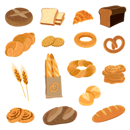 assortment: Bakery fresh bread varieties assortment flat icons collection with loaf and french baguette abstract isolated vector illustration Illustration